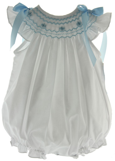 White Smocked Bubble Outfit Blue Bows