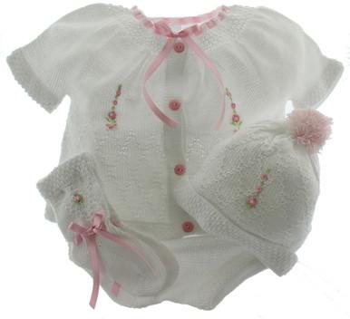 Girls White Knit Layette