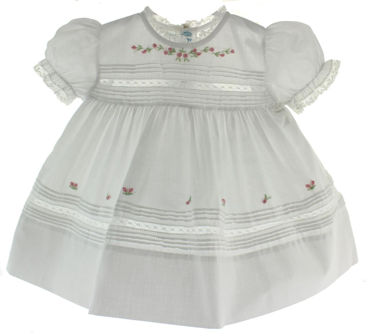 eab6f1216 Girls White Newborn Coming Home Dress with Lace Trim Feltman ...