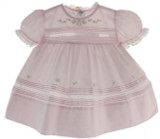 Feltman Brothers Girls Pink Newborn Take Home Dress Lace Trim