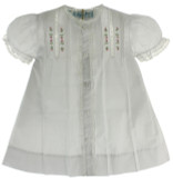 Newborn Girls White Daygown  with Lace Trim & Pink Flowers Feltman Brothers