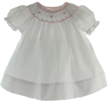 Beautiful Baby Gift White Amp Pink Smocked Dress Set With