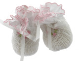 White Pink Smocked baby Booties