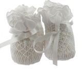 White Smocked Baby Booties