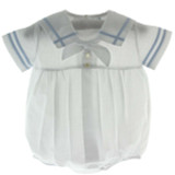 Boys Blue & White Sailor Bubble Outfit with Sailor Collar Feltman Brothers