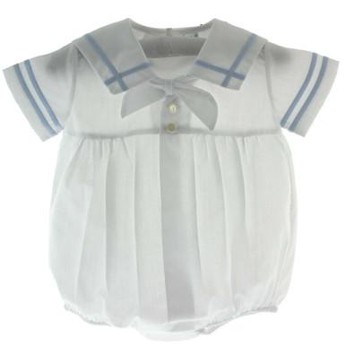 Boys Blue Amp White Sailor Bubble Outfit With Sailor Collar
