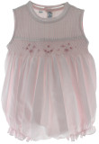 Feltman Brothers Girls Smocked Sleeveless Bubble Outfit  Pink & White