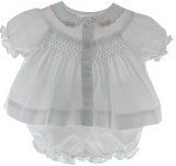 Preemie Girls White Smocked Diaper Set with Pink Roses   Friedknit
