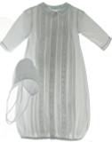 Newborn Boys White Take Home Gown Blue Trim & Bonnet Set | Feltman Brothers