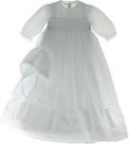 Girls White Long Sleeve Christening Gown Bonnet & Slip Set | Feltman Brothers