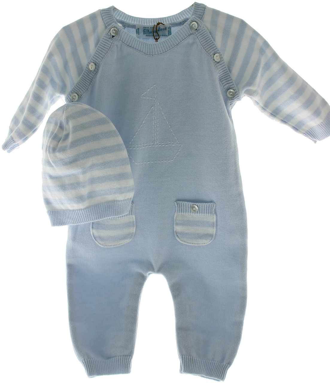 80cb1a0f7682 ... Feltman Brothers Boys Blue Knit Long Romper & Hat with Sailboat.  Loading zoom