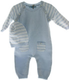 Feltman Brothers Baby Boys Blue Knit Long Romper & Hat with Sailboat