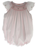 Baby Girls Pink Bubble Outfit with Smocking & Angel Wing Sleeves