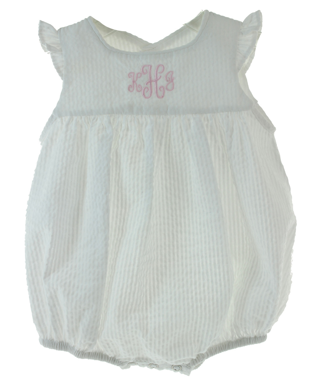 0ba3b8187 Baby Girls White Seersucker Sleeveless Bubble Outfit - Hiccups ...