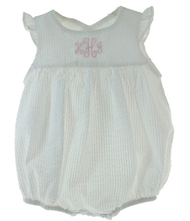 Baby Girls White Monogrammed Summer Bubble Outfit