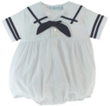 Feltman Brothers Newborn Boys Sailor Romper White & Navy