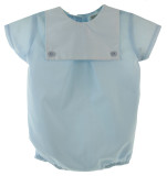 Infant Boys Blue Bubble Outfit White Pique Bib | Carriage Boutique