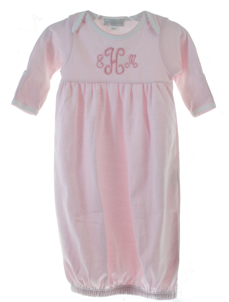 3f49a04c39ba1 Baby Girls Pink Stripe Gown Monogrammed. See 2 more pictures