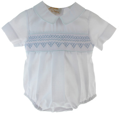White Smocked Bubble for Boy
