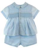 Blue SMocked diaper set