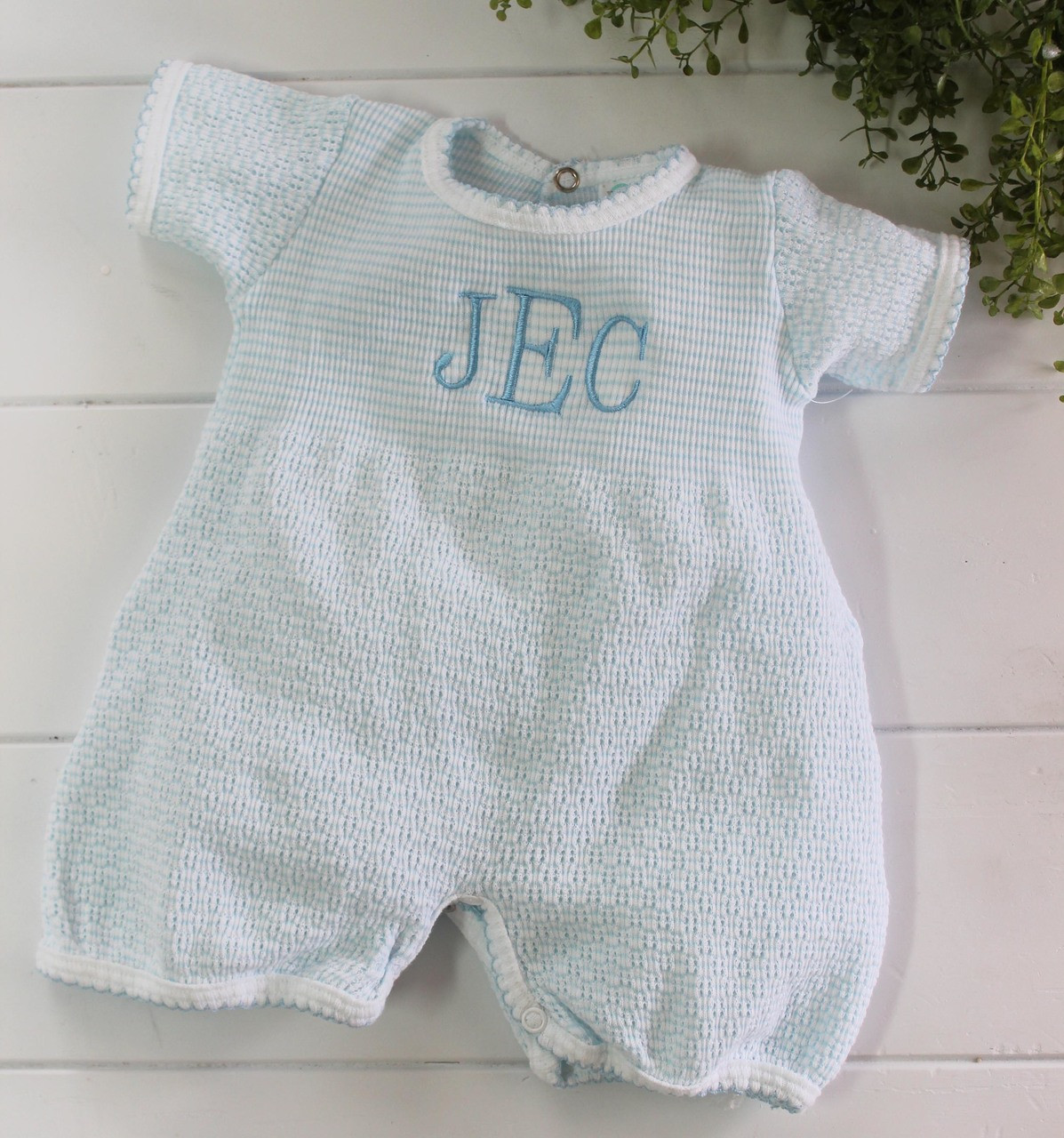 8df64735b Blue Cotton Knit Romper Outfit for Boy | Paty Inc Layette for Boy