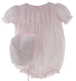 Newborn Girls Pink Take Home Bubble Outfit with Hat | Petit Ami