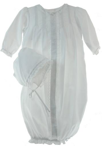 Newborn Girls White Take Home Sack & Bonnet Set