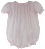 Girls Pink Bubble Outfit with Lace Trim | Petit Ami