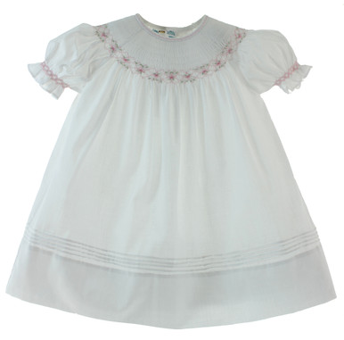 7d002d7c1ec0 White   Pink Smocked Dress. Preview. Feltman Brothers Girls White Bishop ...