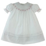White & Pink Smocked Dress