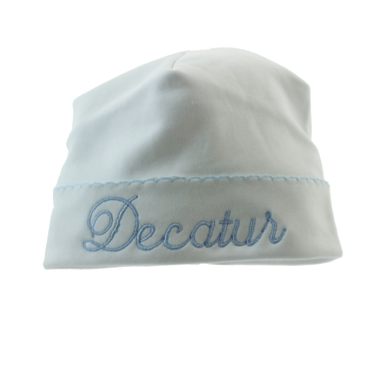 4f2f2bd3f15 ... Magnolia Baby Boys White Take Home Hat with Blue Trim