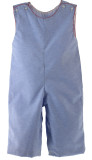 Boys Blue Chambray Long Romper Outfit Red Trim - Krewe Baby Clothes