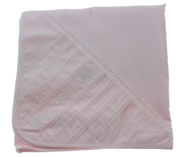 Pink Receiving Blanket with Lace Trim