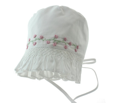 White Bonnet with Roses