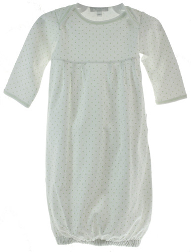 Unisex Baby Gown with Green Dots
