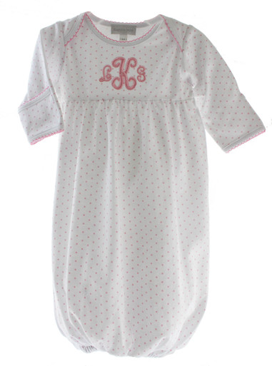 Baby Girls White Gown with Pink Mini Dots Magnolia Baby