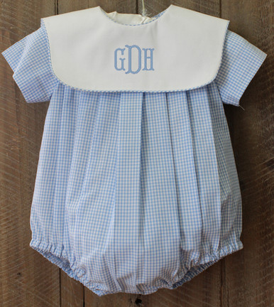 Baby Boys Bubble Romper Blue Gingham With White Bib Collar