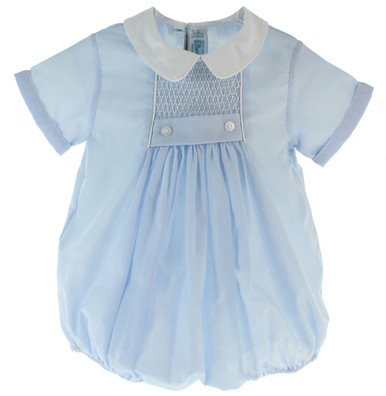 Baby Boys Blue Smocked Bubble Outfit Feltman Brothers