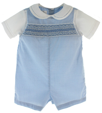 Infant Boys Blue Gingham Smocked Romper Outfit Petit Ami