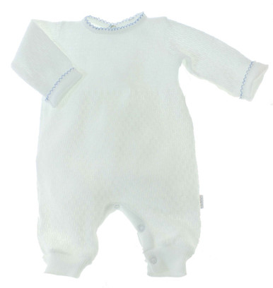 Baby Boys White Blue Sleeper Layette Paty Inc