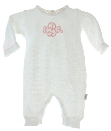 Paty Inc Girls White and Pink Sleeper Monogrammed