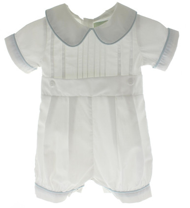 Boys White Christening Romper with Blue Trim