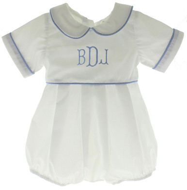 White Bubble Outfit Blue Gingham Trim Monogrammed