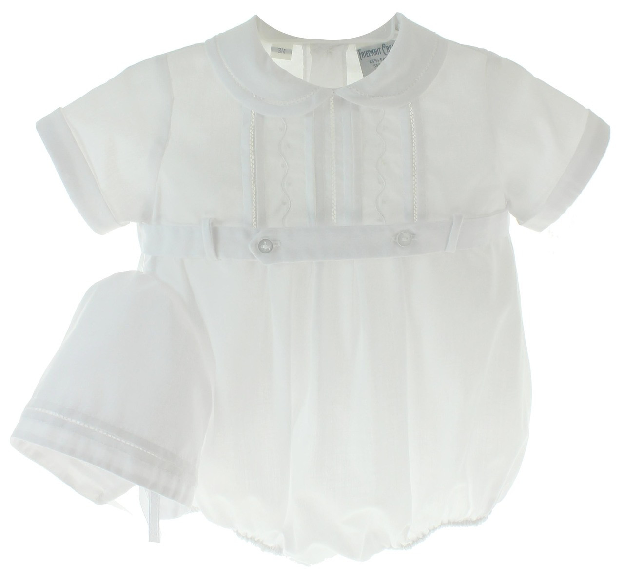 bd7db049798 ... Baby Boys White Christening Bubble Romper Outfit with Hat. Loading zoom