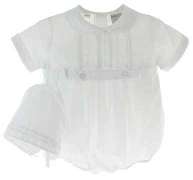 Infant Boys White Christening Romper and Hat 3344