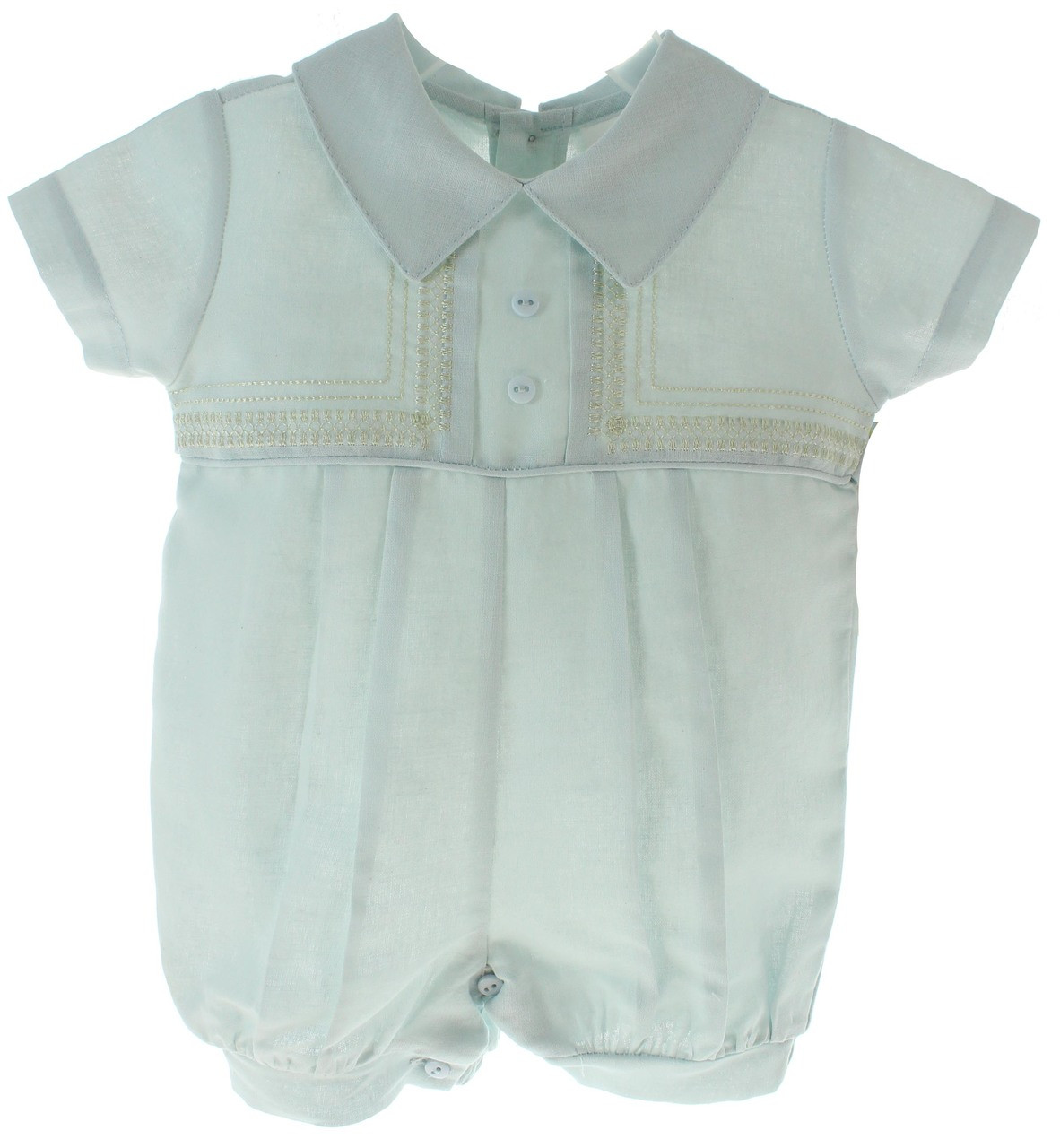 be85559eceaf Baby Boys Blue Linen Romper with Ivory Trim. Click to enlarge