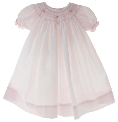 Infant Girls Pink Smocked Daygown Petit Ami