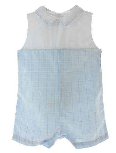Baby Boys Blue Plaid Sleeveless Sunsuit