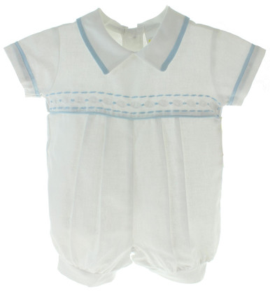 Boys White Dedication Shortall with Blue Trim