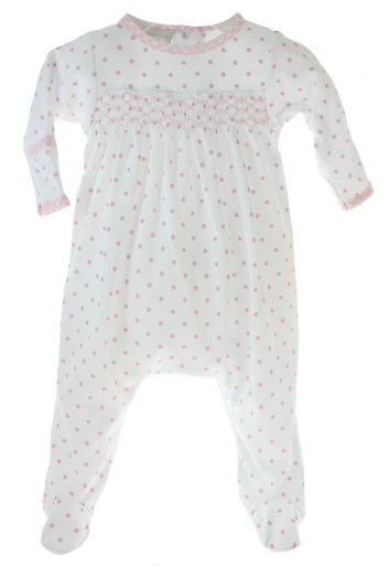 Magnolia Baby White Pink Dot Footed Sleeper